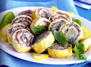 Spirali al prosciutto e formaggio